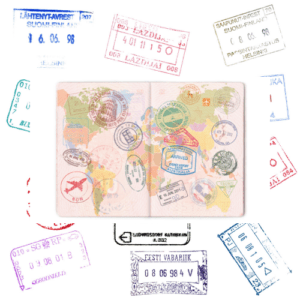 vacation ideas passport with map stamps
