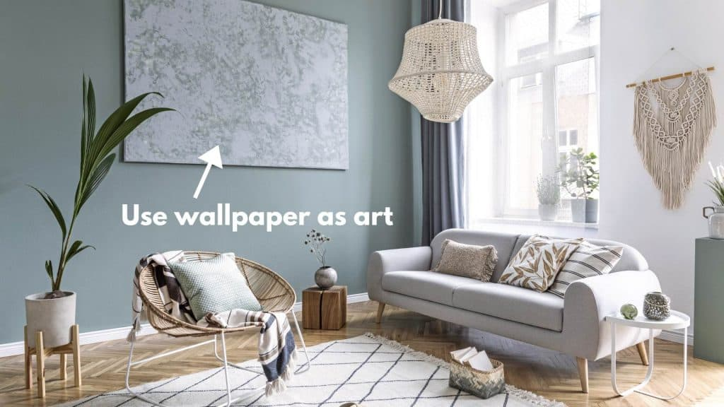 Decorate large living room walls with wallpaper