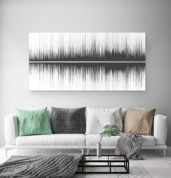 Soundwave wall decor to cover large wall.